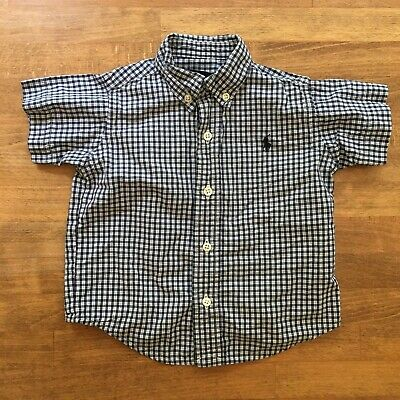 Ralph Lauren Baby Boys Sz 6 12 M Plaid Dress Shirt Short Sleeve Polo Pony Logo