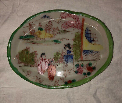 "5"" Small Green Hand Painted Vintage Japan Plate Saucer Geisha Scene"
