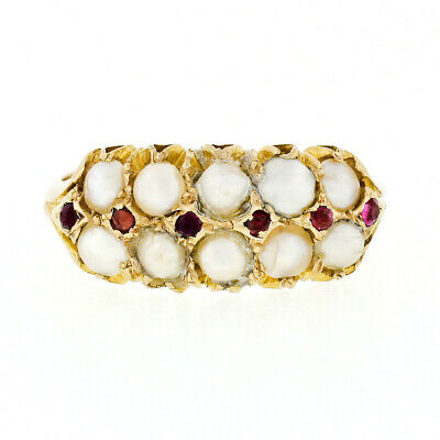 Antique English Victorian 18k Yellow Gold 2 Row Pearl Round Ruby Wide Band Ring