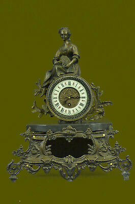 Detailed 100% Solid Bronze Museum Quality Classic Maiden Clock Artwork Statue