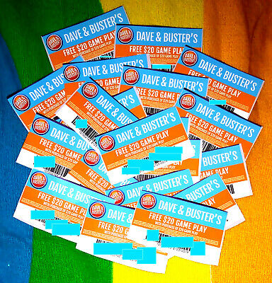 💙 LOT OF 20 💜 Dave & Buster's BUY $20 GET $20 GAME PLAY 💙 $400 Savings! 💜