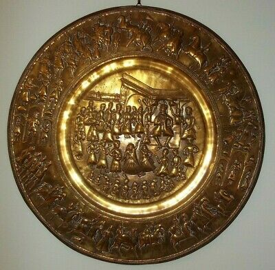 Large Antique Brass Indian Wall Charger