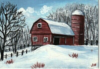 "aceo original acrylic painting ""Red Barn in Winter"" by J. Hutson"
