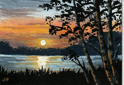 "aceo original acrylic painting ""Lakeside in the Evening"" by J. Hutson"