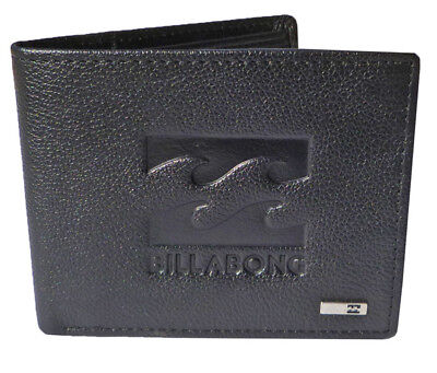 Brand New Billabong Mens Boys Black Leather Wallet Tri-Fold Gift Set In Box Tags