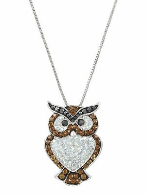 NEW Brilliance Sterling Silver Owl Pendant Crystal Necklace, 18""