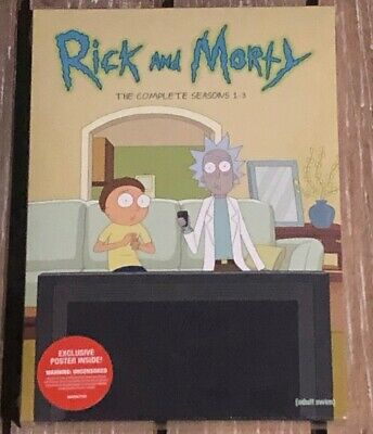 **Rick and Morty**The Complete Seasons 1-3 (6-DVD Set, 2019) NEW, With Poster!!!