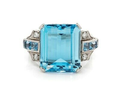 Six Square Cut 4.68CT Aquamarines With Sqaure & Round Accents Stunning Fine Ring