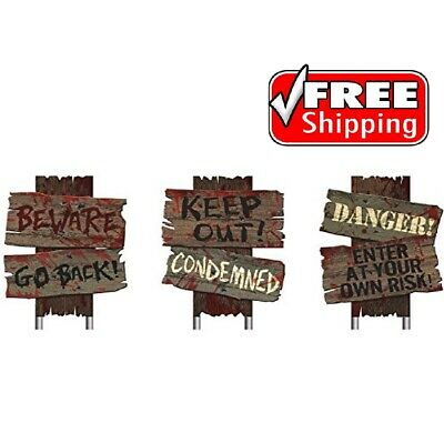 Zombie Haunted House Cemetery Sidewalk Signs Halloween Props Horror Party Decor