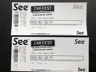 2 X Carfest South Tickets For Friday 23Rd August £138 Face Value.