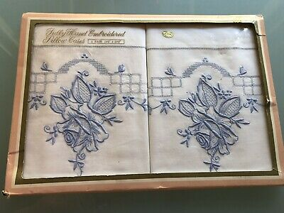 Vintage Pair Embroidered Cutwork Pillow Cases Pure White Cotton Bed Linen
