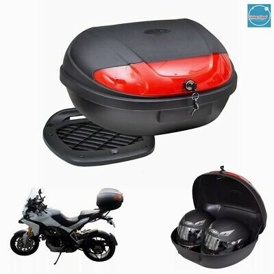TRESKO/® XXL Motorcycle back top box case 48L universal scooter motorbike for 2 helmets topcase
