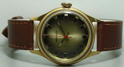 Vintage Benrus Winding Gold Plated Swiss Made Wrist Watch k589 Old Used Antique