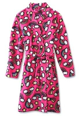 Girls Bath Robe Size 7/8,10/12,14/16 XL Rainbow Pink Fleece Bathrobe Pajamas NEW