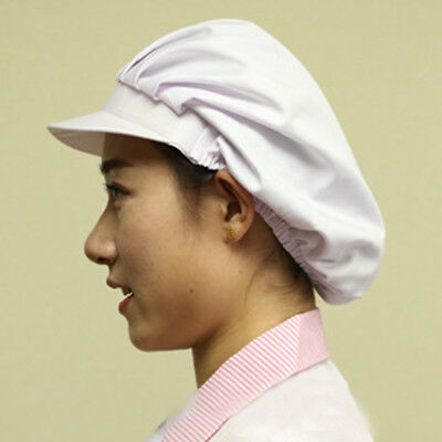 2Pcs Women White Catering Hat Food Hygiene Snood Cap Chef Bakers Bouffant Caps