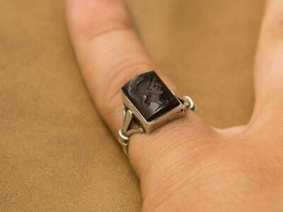 Silver Vtg. Signet Intaglio Ring For Men Seal Agate Engraved Stone Roman Soldier