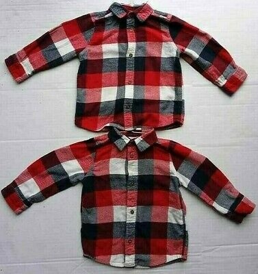 Lot 2 Jumping Beans Twin Boys 24m Flannel Shirt Long Sleeve Plaid Blue Red