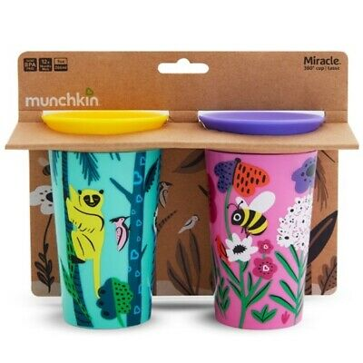 Munchkin Miracle 360 WildLove Sippy Cup Twin Pack: 12m+ (Lemur/Bee) (3069)