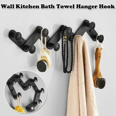 Adhesive/Punch Hole Wall Hanger Hooks Bath Room Clothes Towel Hat Holder Rack