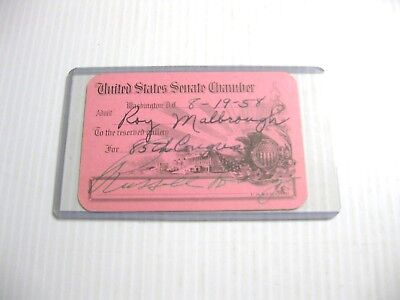 1958 Hon. RUSSELL B. LONG AUTOGRAPHED SIGNED U.S. SENATE GALLERIES PASS