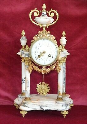 Antique Victorian French Variegated Marble & Gilt Ormolu Striking Portico Clock