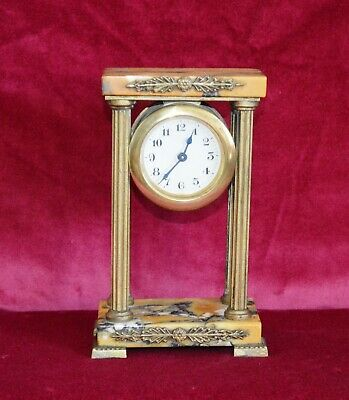 Antique Victorian Variegated Marble & Gilt Brass Miniature Portico Clock