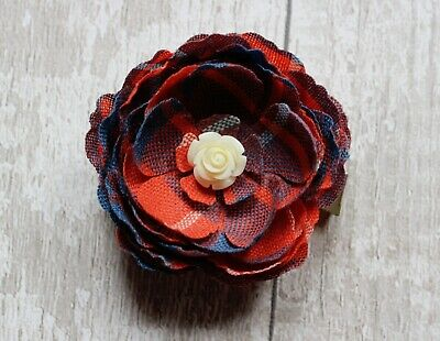 Custom Tartan Flower Booch. Floral Buttonhole. Unique Gift. Scottish Wedding.