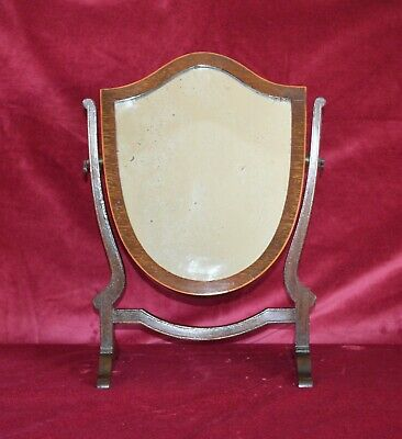 Antique Edwardian Mahogany Shield Small Toilet Table Mirror