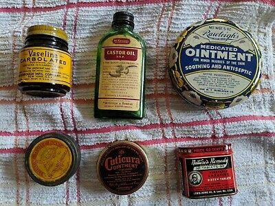 6 antique 1920s 30s Cuticura Ointment Mckesson Castor Oil Rawleighs Ointment USA