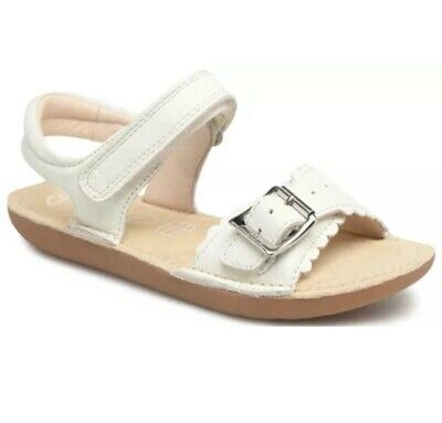 New Clarks Ivy Blossom White Leather Girls sandals size 10F-1F