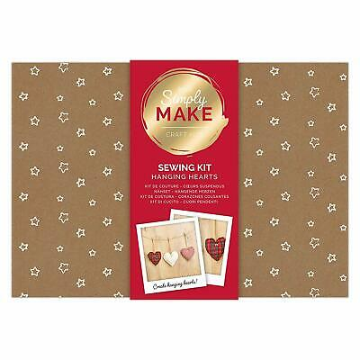Simply Make by docrafts - Create Your Own Hanging Hearts Sewing Kit Pack of 3