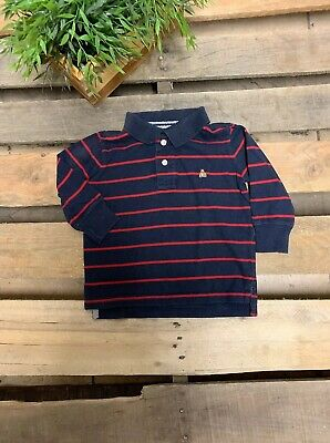 Baby Gap Boys 18-24 Months Long Sleeves Polo Style T Shirt Blue And Red Stripes