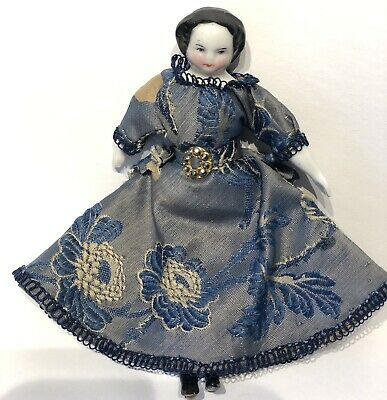"""Early Antique 4"""" German China Doll Dollhouse Doll Original Blue Dress and Slip"""