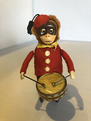 Schuco Tin Toy German Made (Monkey Drummer, Wind Up Drumming) With Key