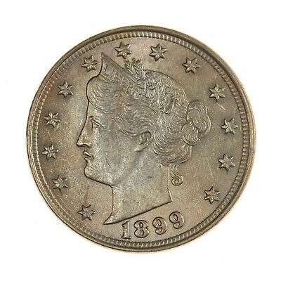 """Raw 1899 Liberty Head 5C Uncertified Ungraded """" V """" US Mint Nickel Coin"""