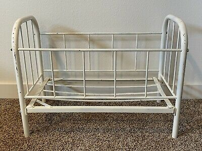 Antique Wrought Iron Baby Doll Crib Bed Vintage Metal Babydoll -Rare