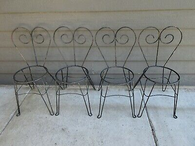 Antique Wrought Iron Ice Cream Parlor Chairs Set of 4 Vintage Hairpin Legs
