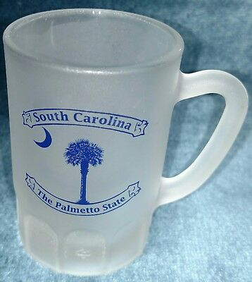 Shot Glass South Carolina Moon and Palm Frosted Glass mini beer mug