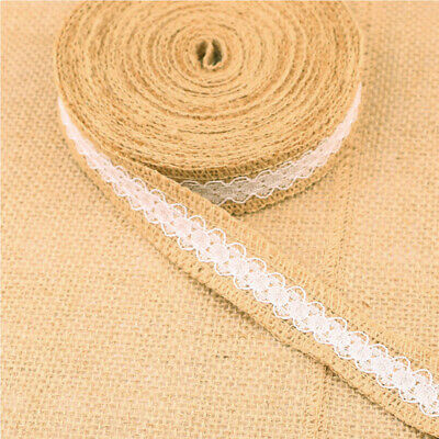5mx4cm Natural Jute Hessian Burlap Ribbon Lace Trim Edge Wedding Decoration