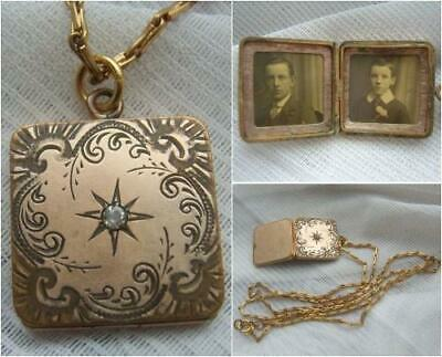 Victorian Edwardian Rolled Gold Filled Square Photo Locket on Original Chain