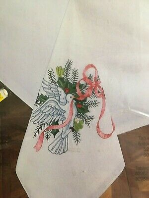 """Bucilla DOVES AND HOLLY Tablecloth linen to be Embroidered  60"""" x 90""""  no floss"""