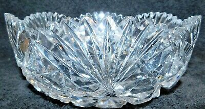 "Beautiful Antique Signed Hawkes Glass Bowl Lovely Cuts, Blank, Large 8""!!"