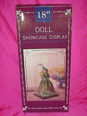 "Display Plastic Case for Doll or Collectibles 18"" x 7-3/4 x 7-3/4 W/ Metal Stand"