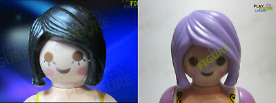 PLAYMOBIL PLAYFIGURE Bouffant HAIR 1 BLACK and 1 Purple LOT OF 2 PIECES