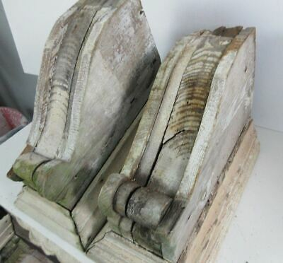 Pair of Victorian Primitive White Pine Wood Architectural Salvage Ornate Corbels