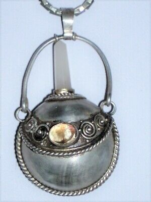 Antique Sterling Silver Perfume Holder Necklace Crystal Plug Very Ornate