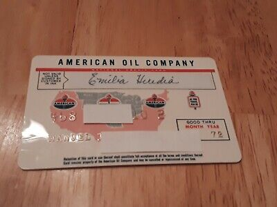 American Oil Company 1972 Vintage Credit Card charge card 05/72 gas station cars