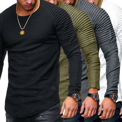 Muscle Mens Slim Fit O Neck Long Sleeve Tee T-shirt Casual Tops Blouse Fashion V