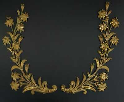 Two Large Antique Gold Metal Work Appliques Lilys Circa 1850 French