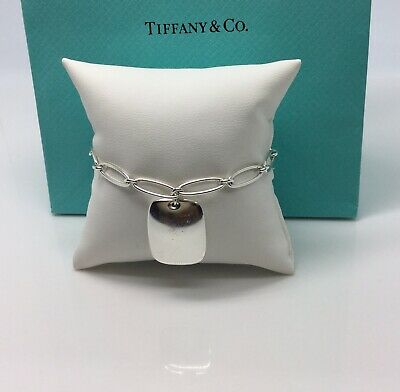 Authentic-Tiffany & Co. Elsa Peretti Square Tag/Charm Bracelet 7""